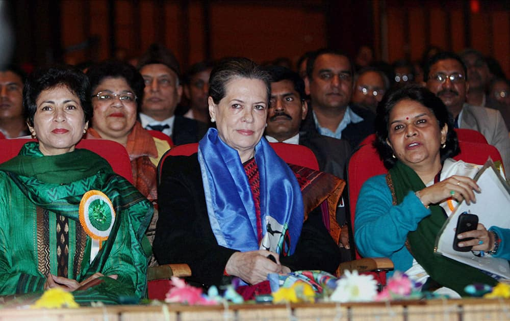 UPA Chairperson Sonia Gandhi with Minister for Social Justice & Empowerment, Kumari Selja watching a cultural programme at the inauguration of Samarth 2014, a two-day national festival for showcasing the abilities of persons with disabilities (PwDs), in New Delhi.