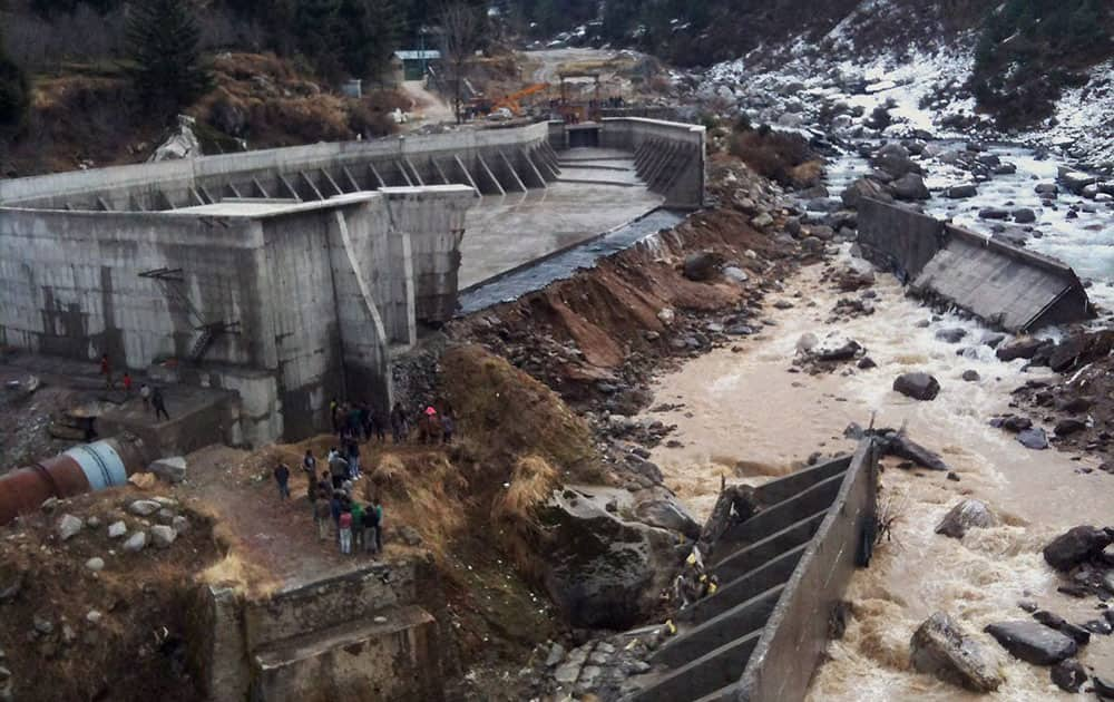 A view of the burst dam of Aleo Electric Project Stage-II in Manali.