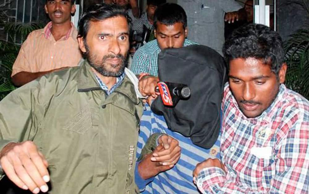 Hyderabad Police arrested accused for the gangrape of a dancer from Mumbai on New Year eve, after a press conference in Hyderabad.