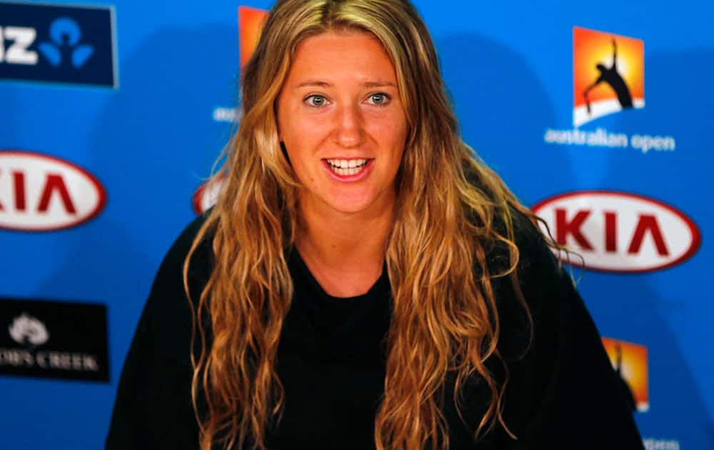 Victoria Azarenka of Belarus speaks during a press conference at the Australian Open tennis championship.