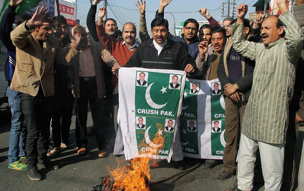 Activists of Jammu West Assembly Movement shout slogans during a protest in Jammu.