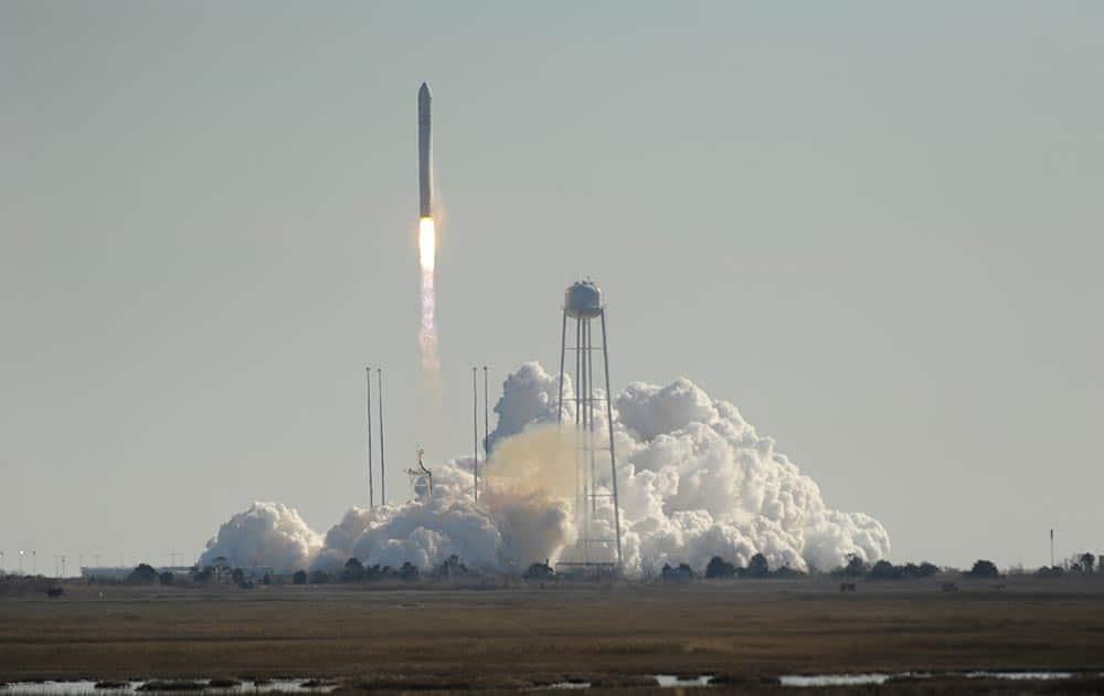 Orbital Science Corps.` Antares rocket lifts off from Wallops Island, Va.
