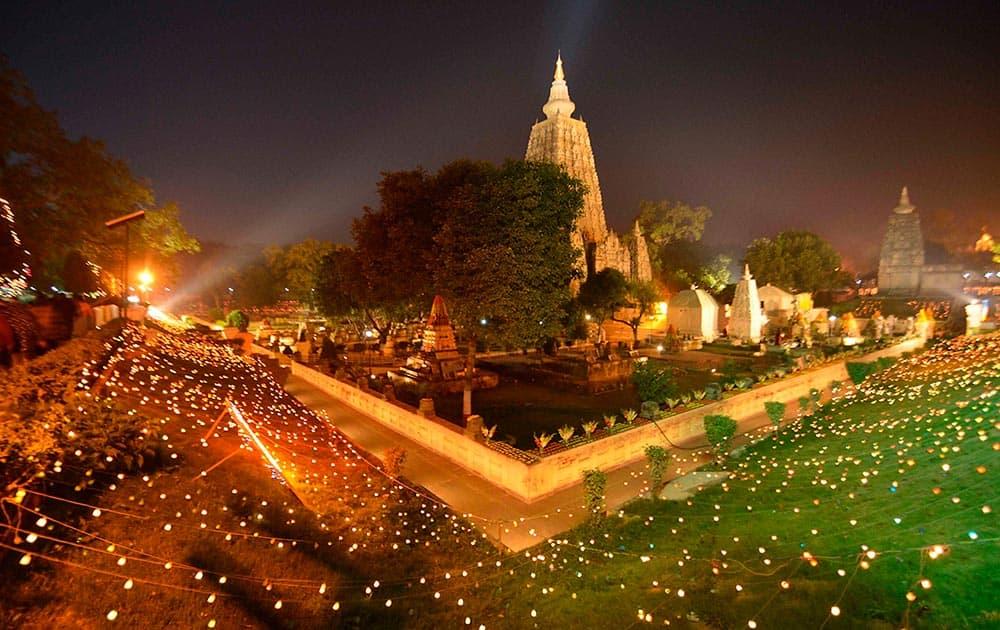 The Mahabodhi temple illuminated on the occassion of 31st Kagyu Monlam for world peace, in Bodhgaya.