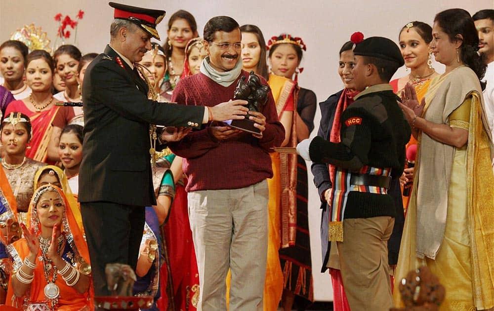 Delhi Chief Minister Arvind Kejriwal at the NCC Republic Day Parade Camp 2014, in New Delhi.