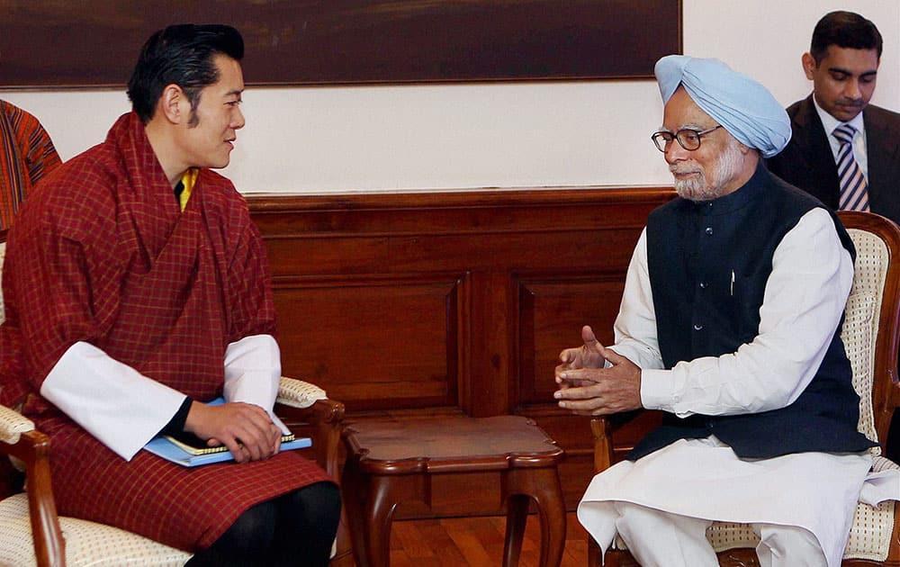 Prime Minister Manmohan Singh with King of Bhutan, Jigme Khesar Namgyel Wangchuck during a meeting in New Delhi.
