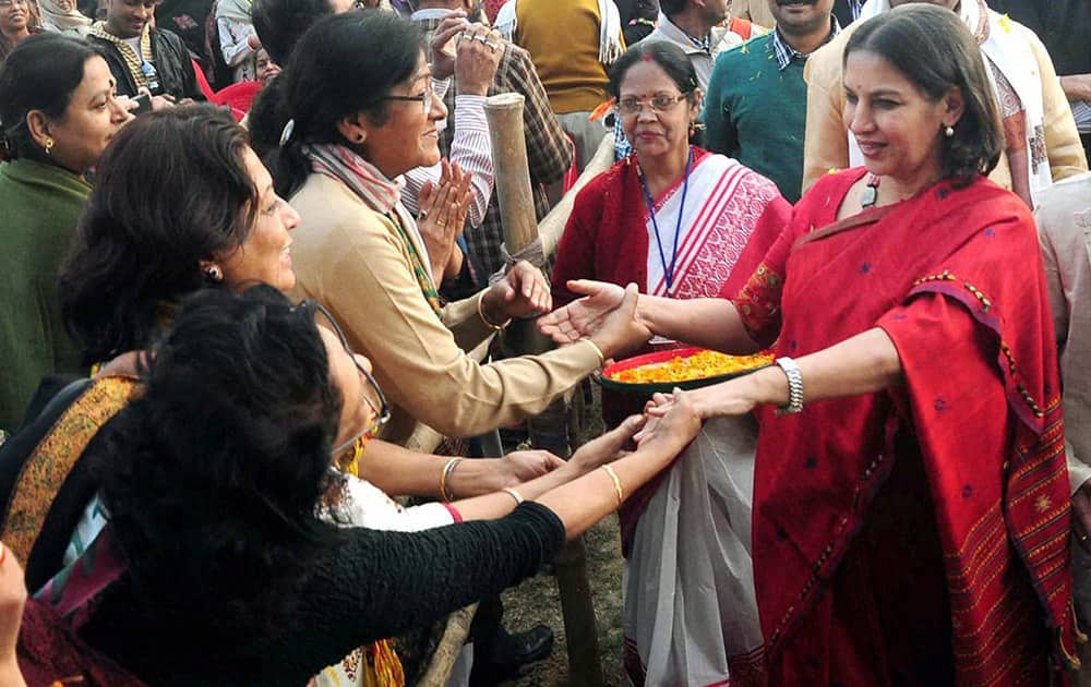 Locals greet actor Shabana Azmi during the 17th Banga Sanskriti Utasav at Nadia district in West Bengal.