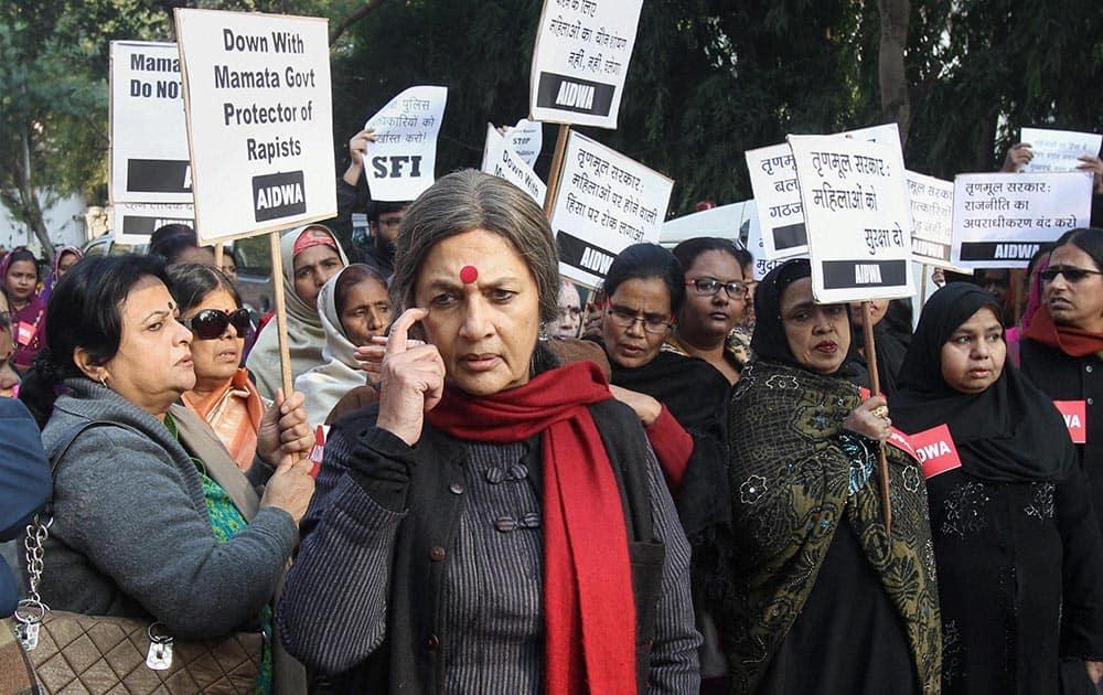 CPI-M leader Brinda Karat during a protest demonstration by AIDWA members against the death of a 16-year-old gang rape victim in Kolkata, near Banga Bhawan in New Delhi.
