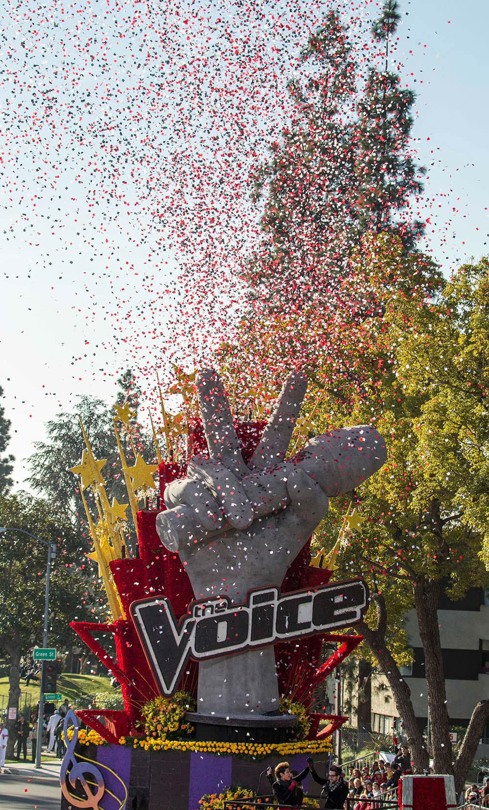 NBC`s The Voice float `Singing the Dream` moves along Orange Grove Boulevard during the 125th Tournament of Roses Parade in Pasadena, Calif.