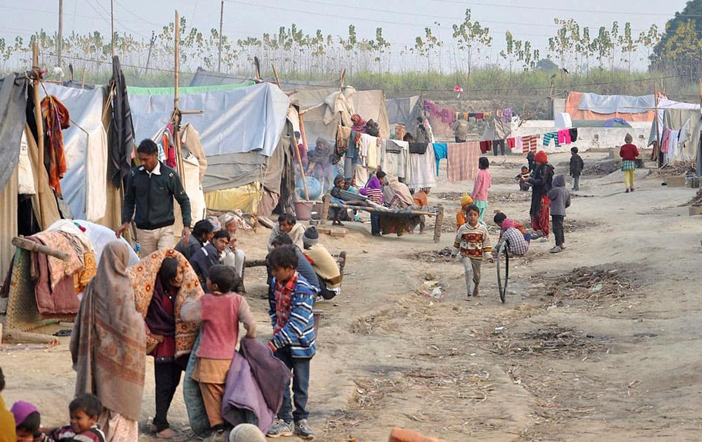 Riot victims shifting from a relief camp in Loi village of Muzaffarnagar.
