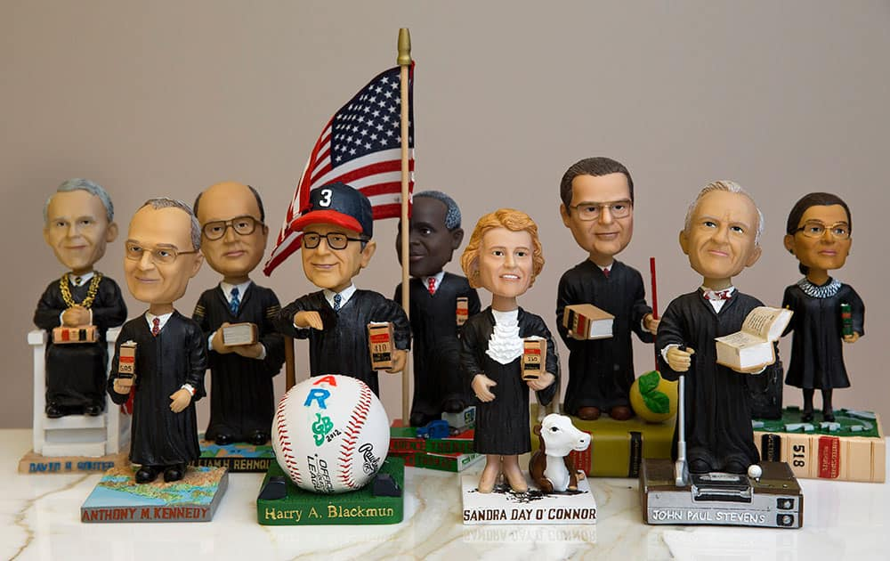 This photo shows bobblehead dolls representing Supreme Court Justices, in Washington. They are some of the rarest bobblehead dolls ever produced.