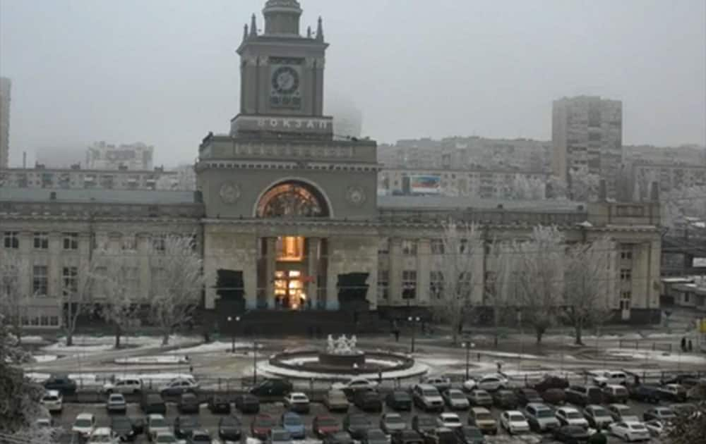 In this photo made by a public camera and made available by the Associated Press Television News the flash of an explosion illuminates the entrance to Volgograd railway station in Volgograd Russia.