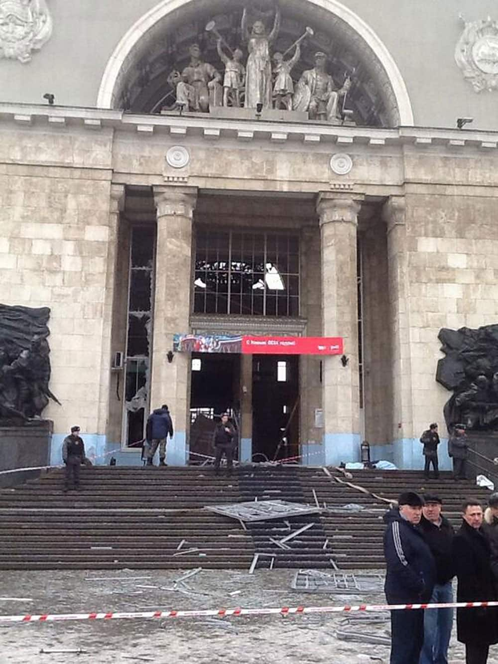 In this photo taken on a cell phone, made available by Volgograd Mayor`s Office, debris lies outside an entrance to Volgograd railway station.