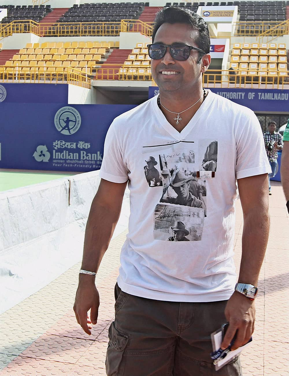 Indian tennis player Leander Paes during a practice session for the ATP Chennai Open 2014 at SDAT Tennis Stadium in Chennai.