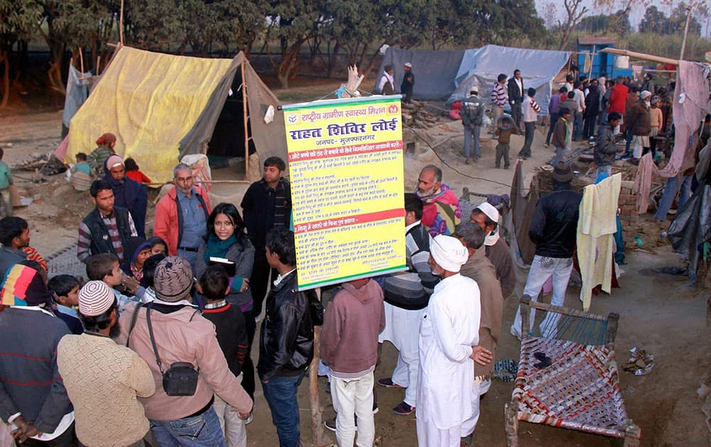 Resident of Muzaffarnagar at a victim relief camp at Village Loi in Muzaffarnagar.