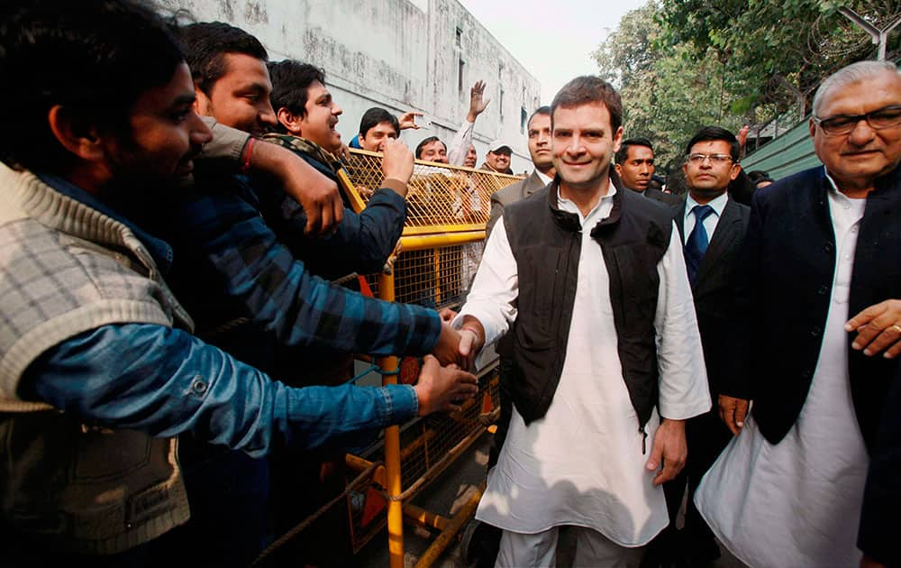 Congress Vice President Rahul Gandhi meets people of Jat community at his residence in New Delhi.
