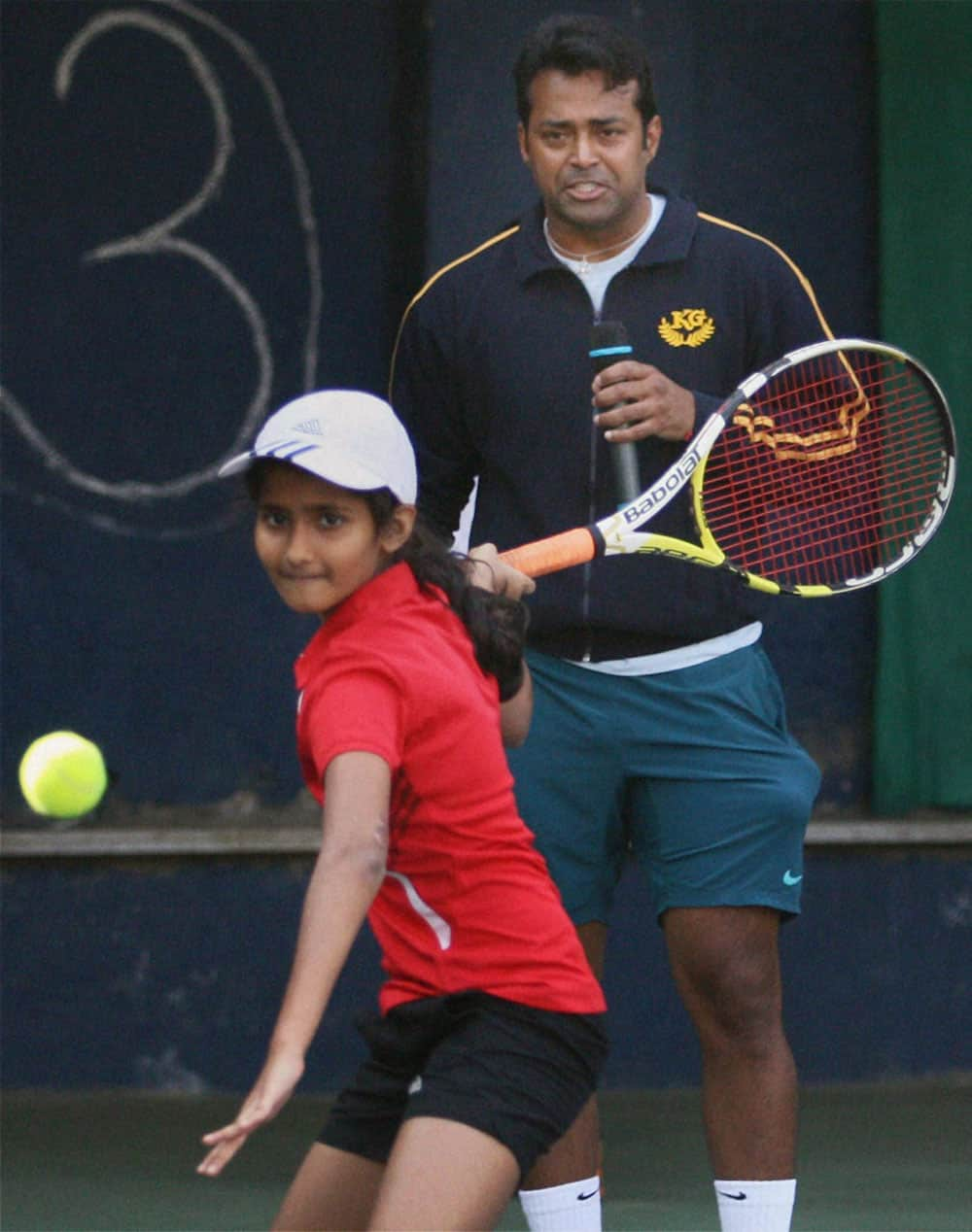 Tennis player Leander Paes during a training session for children in Mumbai.