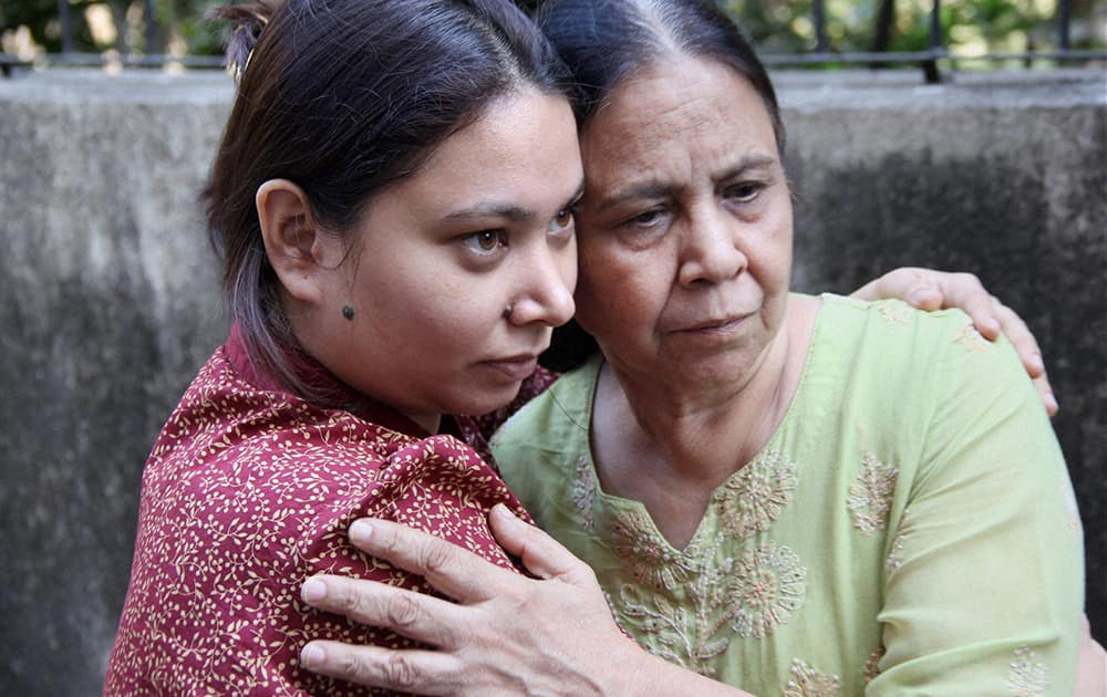 Sunil James`s wife Aditi and mother during an interaction with the media at their resident in Mumbai on Thursday. James, jailed in Togo in July, has been released and is expected to arrive India by Friday.