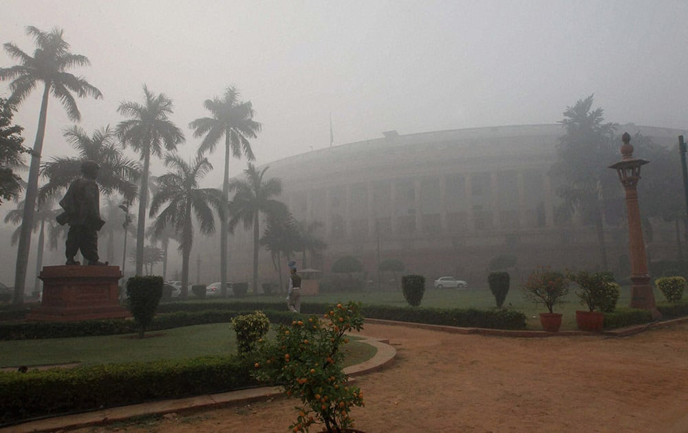 A foggy morning at Parliament House in New Delhi.