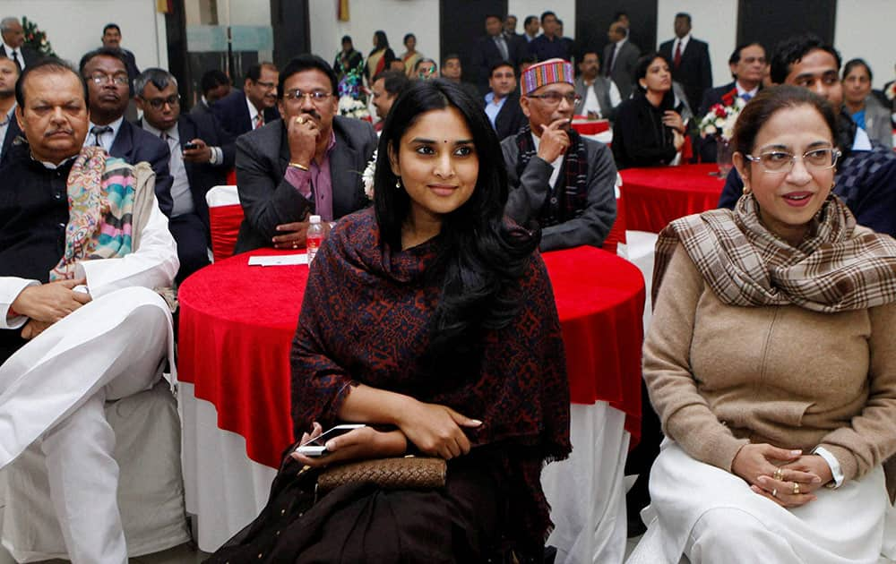 Kannada actress and MP Ramaiya, Annu Tandon and other MPs during the Parliamentarians Christmas celebration in New Delhi.