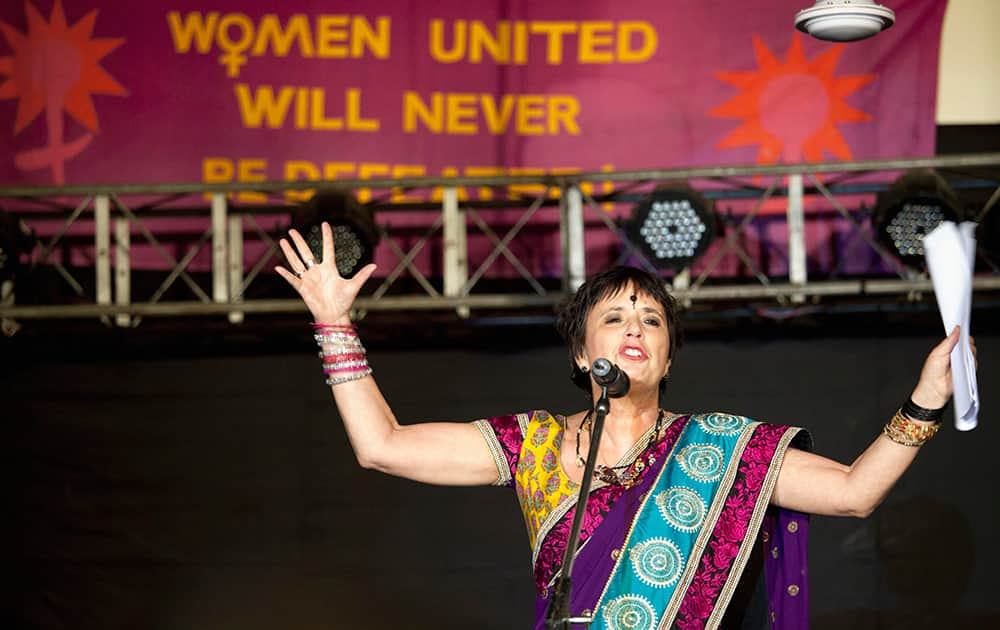 American playwright and activist Eve Ensler speaks at a gathering to mark the first anniversary of the fatal gang rape of a New Delhi woman in Dharmsala.