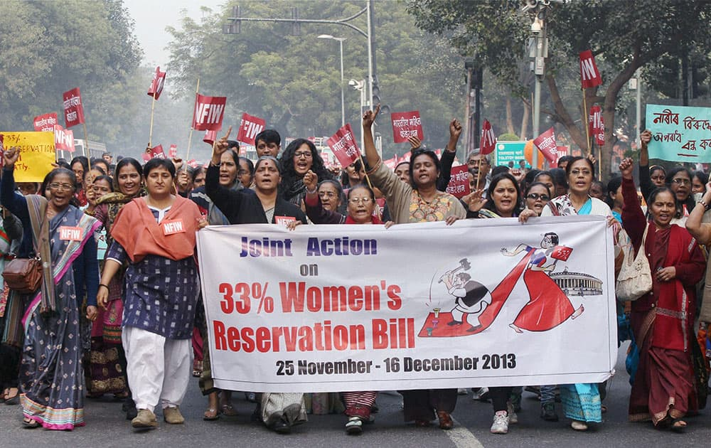 National Federation of Indian Women (NFIW) members during a protest in support of women`s freedom and Women`s Reservation Bill at Jantar Mantar in New Delhi.