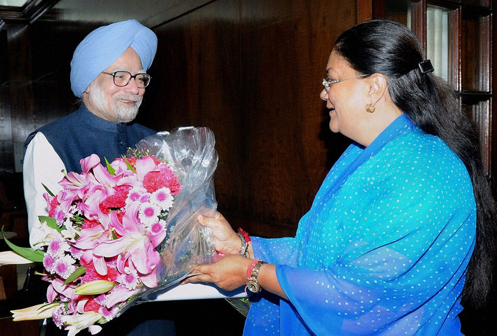 Prime Minister Manmohan Singh and Rajasthan CM Vasundhara Raje at a meeting at Parliament House in New Delhi.