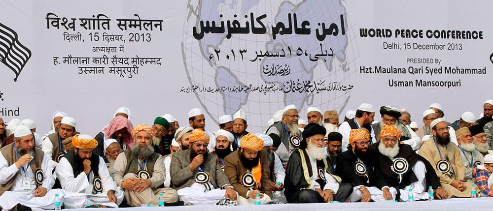 Religious leaders of India, Pakistan and other countries take part in the World Peace conference at Ramlila Ground in New Delhi.