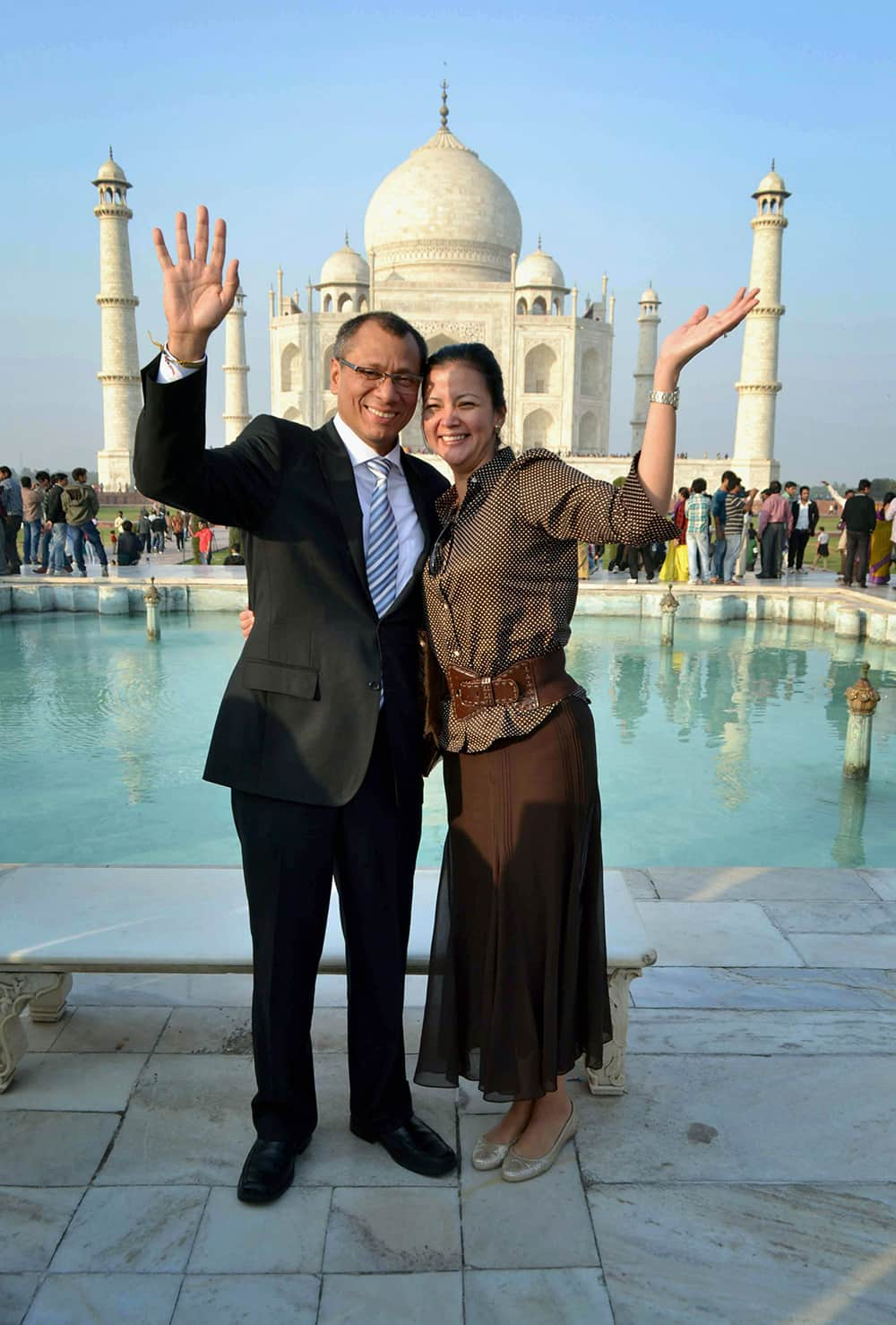 Ecuador's Vice President Jorge Glass and his wife pose for a photograph in front of the Taj Mahal in Agra.