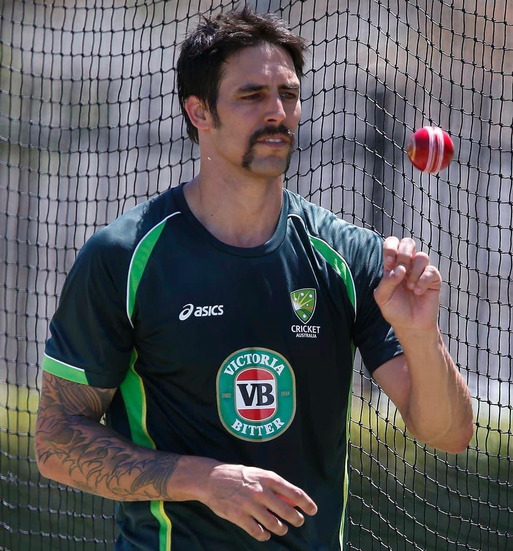 Australia`s Mitchell Johnson prepares to bowl during a nets session in Perth, Australia.