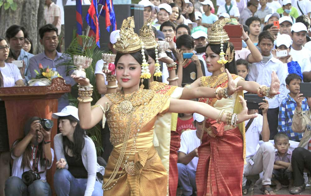 Cambodian dancers perform a blessing dance during a celebration marking the 65th International Human Rights Day in Phnom Penh, Cambodia.