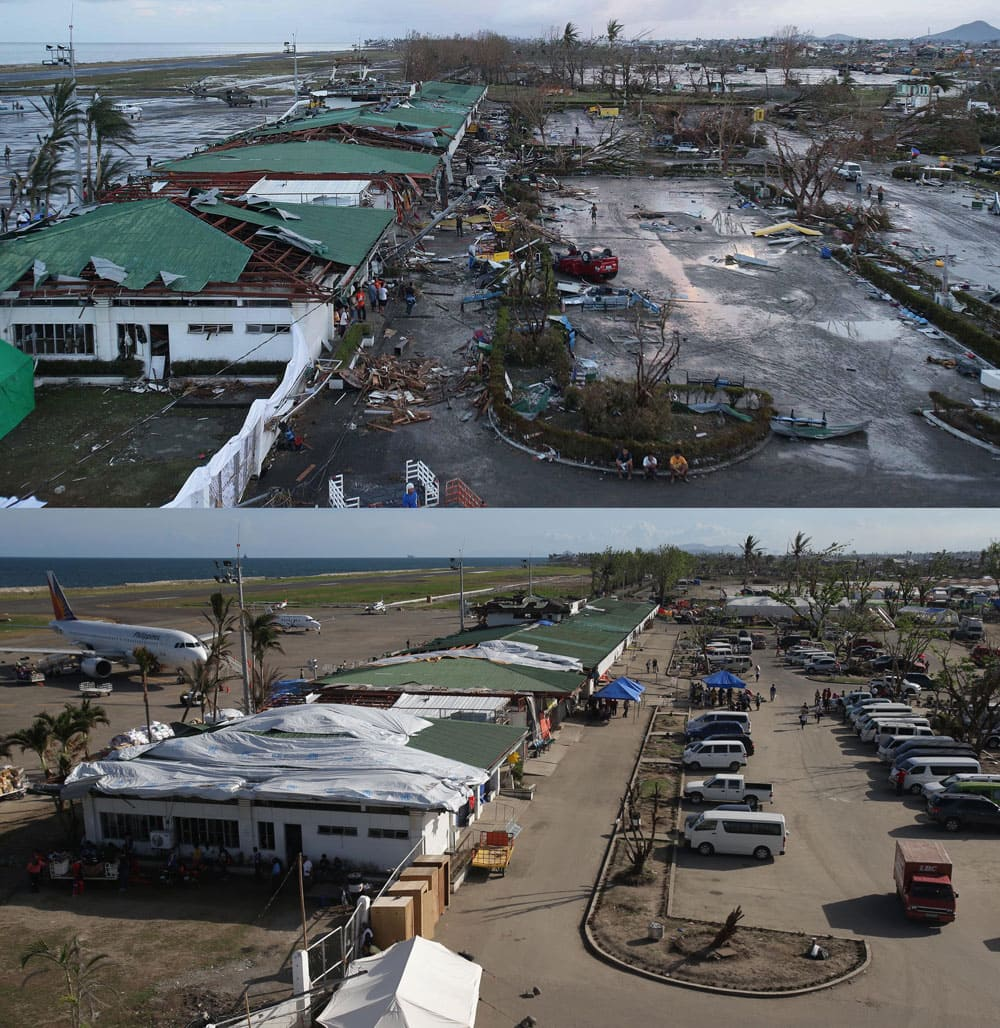 This combination of photos shows progress of cleanup efforts of debris once scattered across the airport on Saturday, Nov. 9, 2013, top, a day after Typhoon Haiyan struck, and on Monday, Dec. 9, 2013, commercial flights become more regular one month after, in Tacloban, Leyte province.