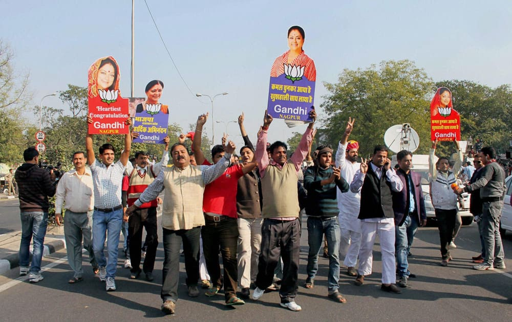 A scene outside BJP office after the party`s thumping win in the Rajasthan assembly polls, in Jaipur.
