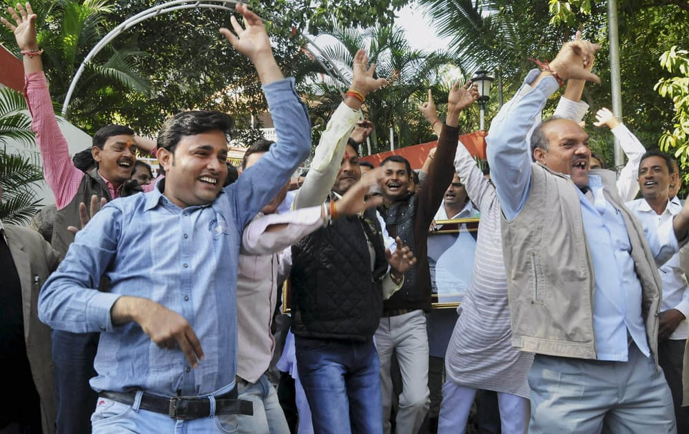 Celebrations at Delhi BJP office after counting trends showed party`s win in Assembly polls, in New Delhi.