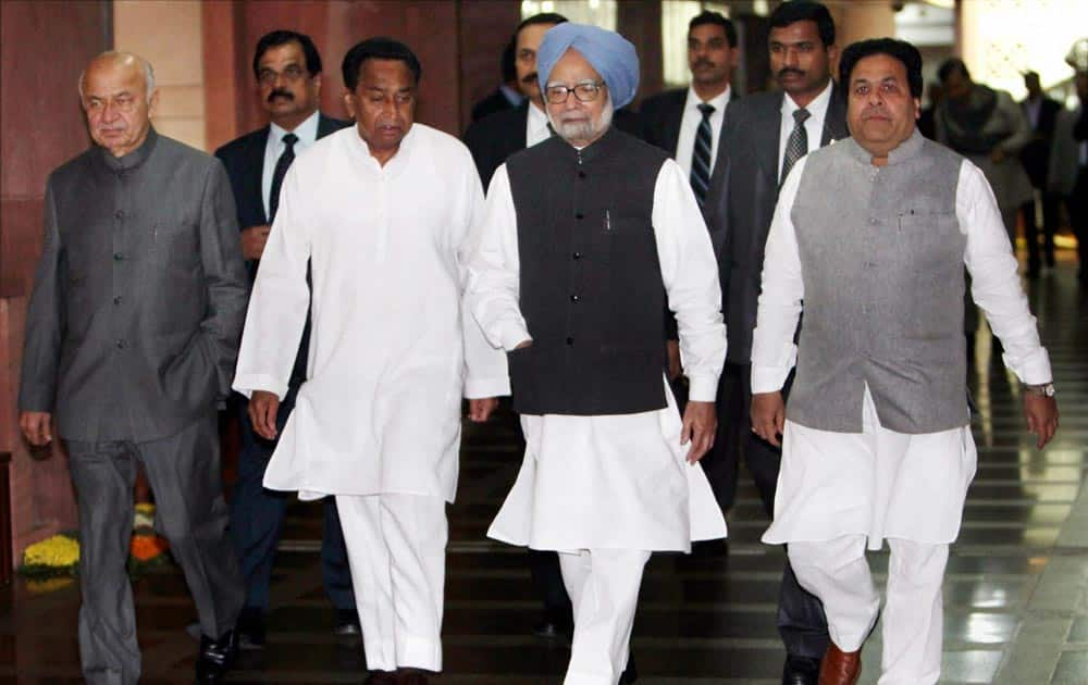 Manmohan Singh with Union Parliamentary Affairs Minister Kamal Nath, Home Minister Sushilkumar Shinde and MoS Rajiv Shukla after attending an all-party meeting, convened by the Speaker Meira Kumar, ahead of the winter session of Parliament in New Delhi.