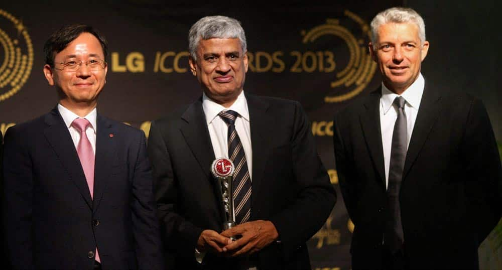 Managing director of LG Electronics (Thailand), Hyun Woo Lee, BCCI secretary Sanjay Patel and ICC Chief Executive David Richardson during announcement of the shortlisted ICC Test and ODI Teams of the Year 2013, in Mumbai.