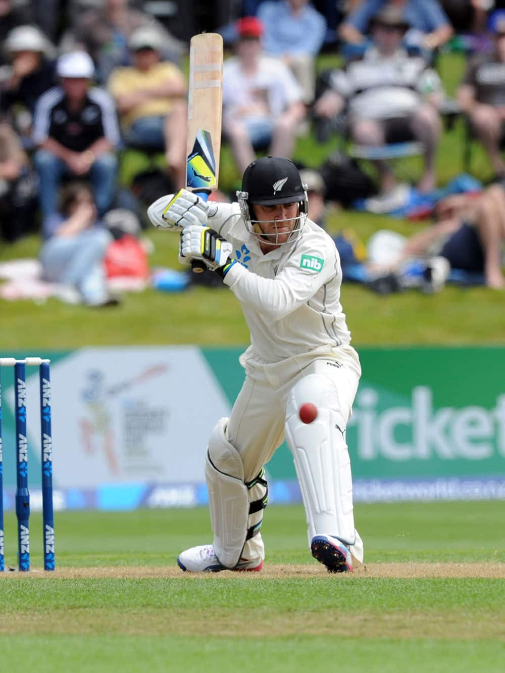 New Zealand`s Brendon McCullum bats against West Indies on the first day of the first cricket test in Dunedin, New Zealand.