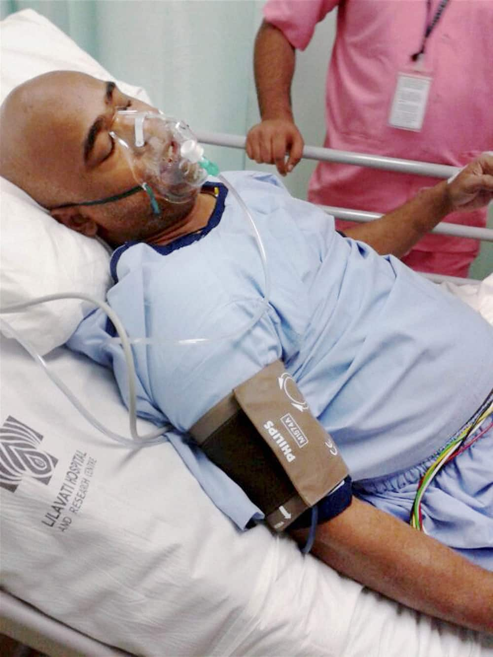 Former cricketer Vinod Kambli is treated at a hospital in Mumbai after suffering a heart-attack.