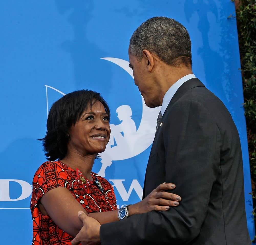 President Barack Obama is introduced by DreamWorks Animation Chairman President and Director at Ariel Capital Management Mellody Hobson before speaking at DreamWorks Studios in Glendale, Calif.