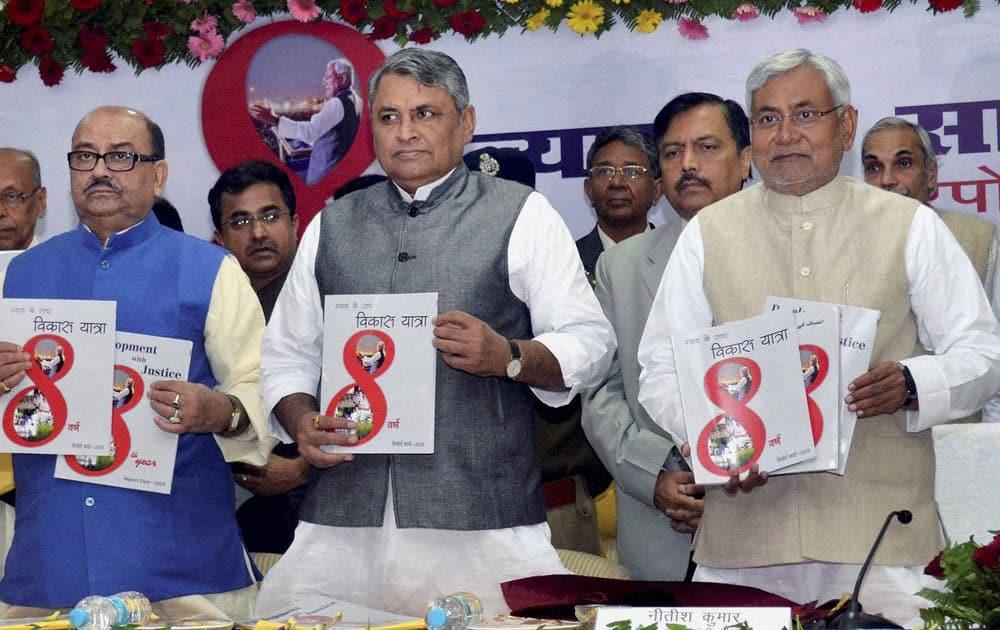Bihar Chief Minister Nitish Kumar releasing a report card of Bihar government.