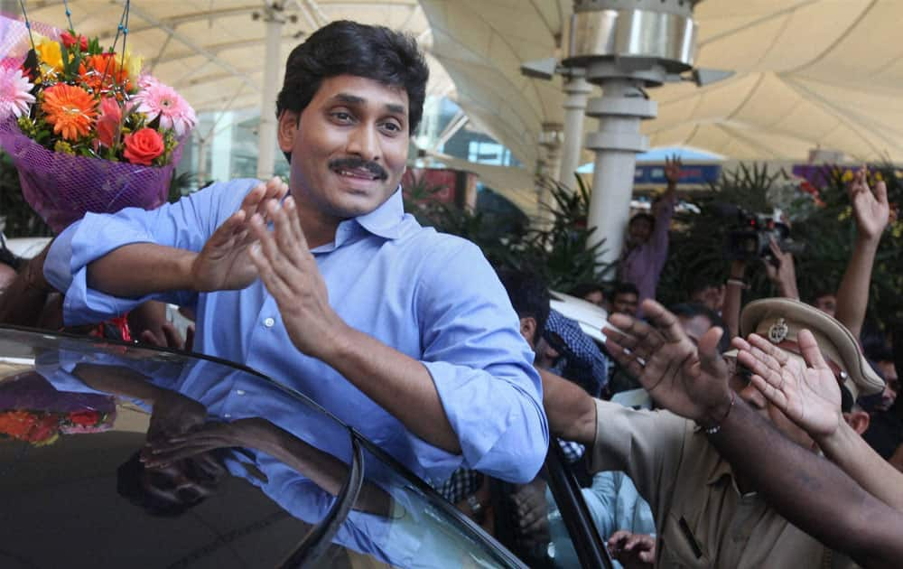 YSR Congress chief Y S Jaganmohan Reddy arrives at the domestic airport in Mumbai.