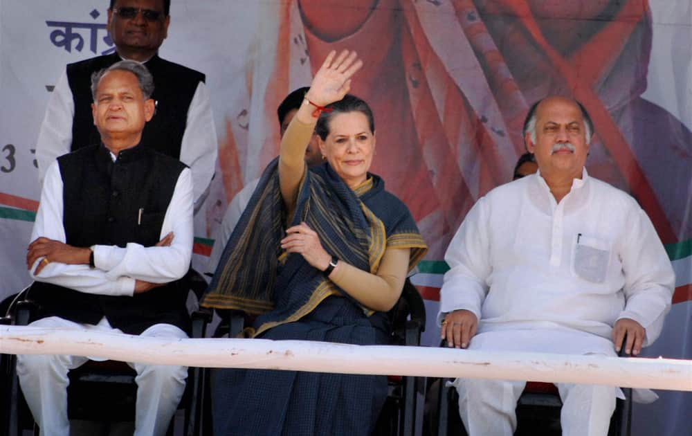 Congress Presindent Sonia Gandhi with Rajasthan Chief Minister Ashok Gehlot during an election rally in Kota.