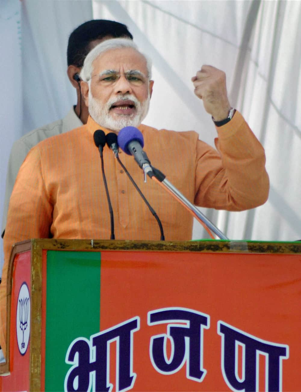 Narendra Modi addresses an election rally in Mandsaur, Madhya Pradesh.
