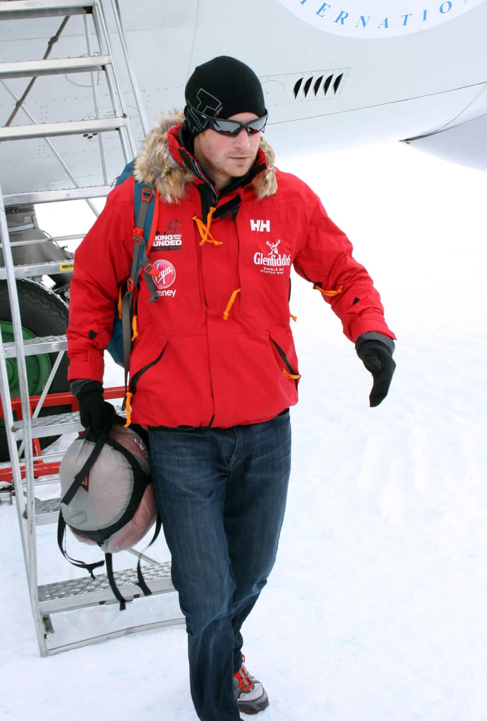 Britain`s Prince Harry, partron of the UK team, arrives in Novo, Antarctica to take part in the South Pole Allied Challenge 2013 expedition.