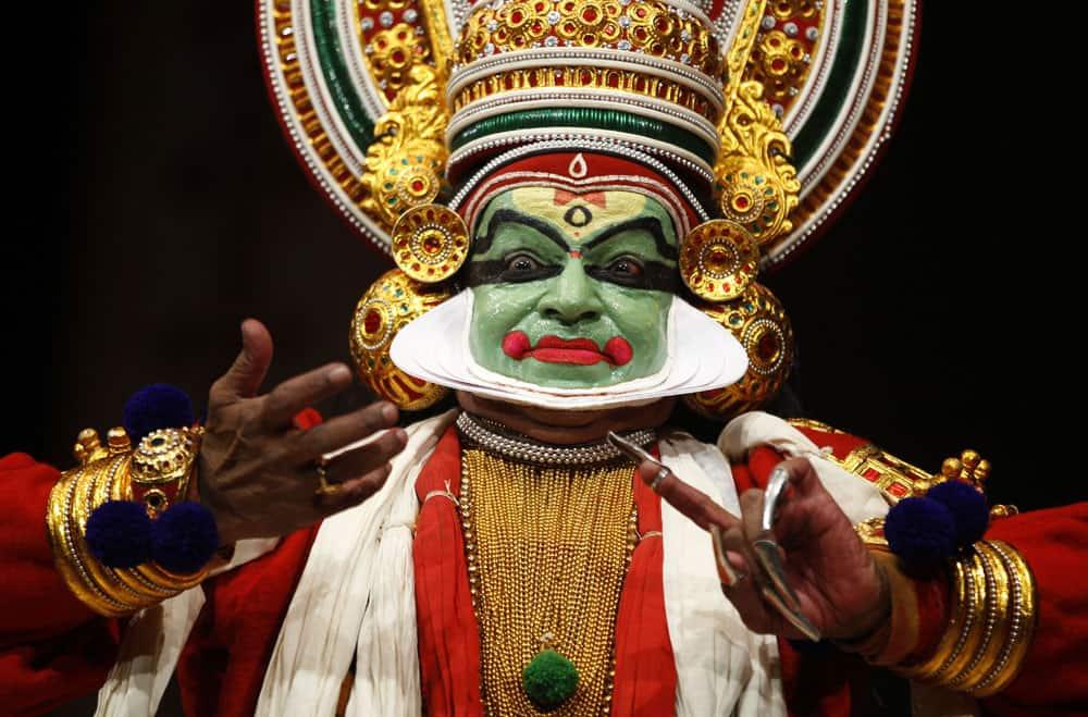 An Indian Kathakali artist performs at Kala Nadam Dance Festival in Bangalore.