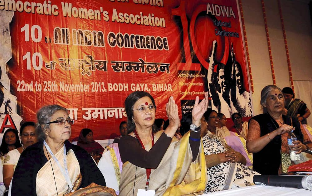CPM leaders Brinda Karat and Suhasini Ali during the 10th conference of All India Democractic Women`s Association in Bodhgaya.
