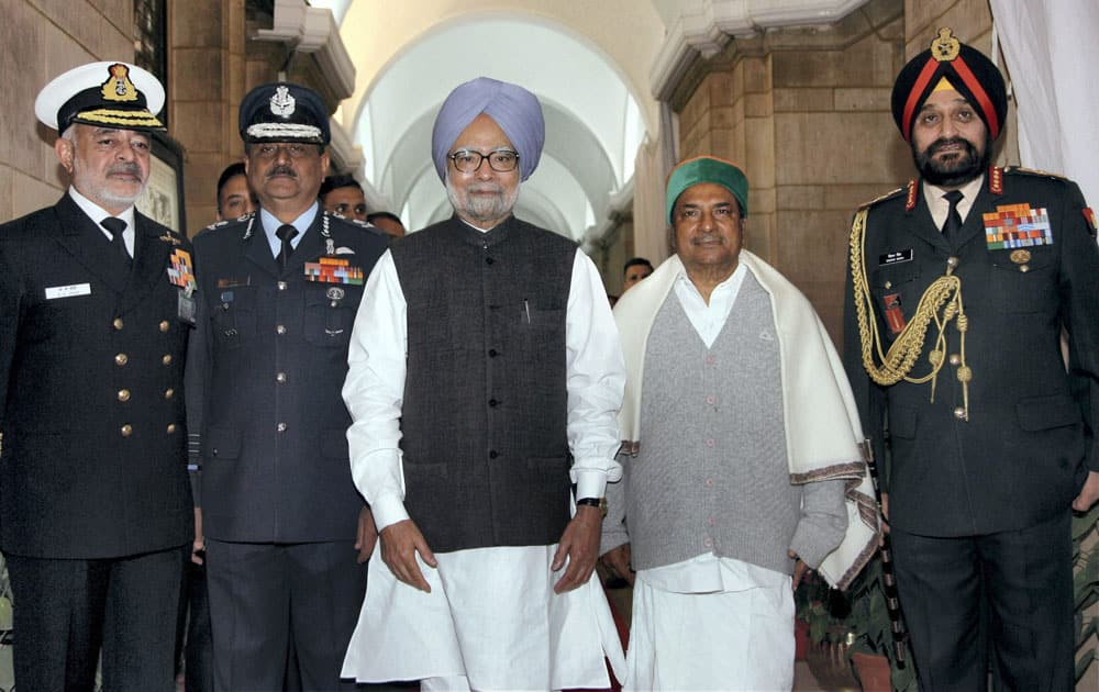 Prime Minister Manmohan Singh, Defence Minister A.K.Antony, IAF chief Air Chief Marshal NAK Browne, Navy Chief Admiral D K Joshi, Army Chief General Bikram Singh, present in Prime Minister`s Office.