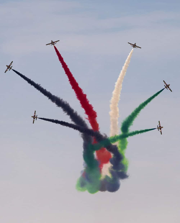 Al Fursan, the aerobatics demonstration team of the UAE Air Force perform during the Dubai Air show, in Dubai, United Arab Emirates.