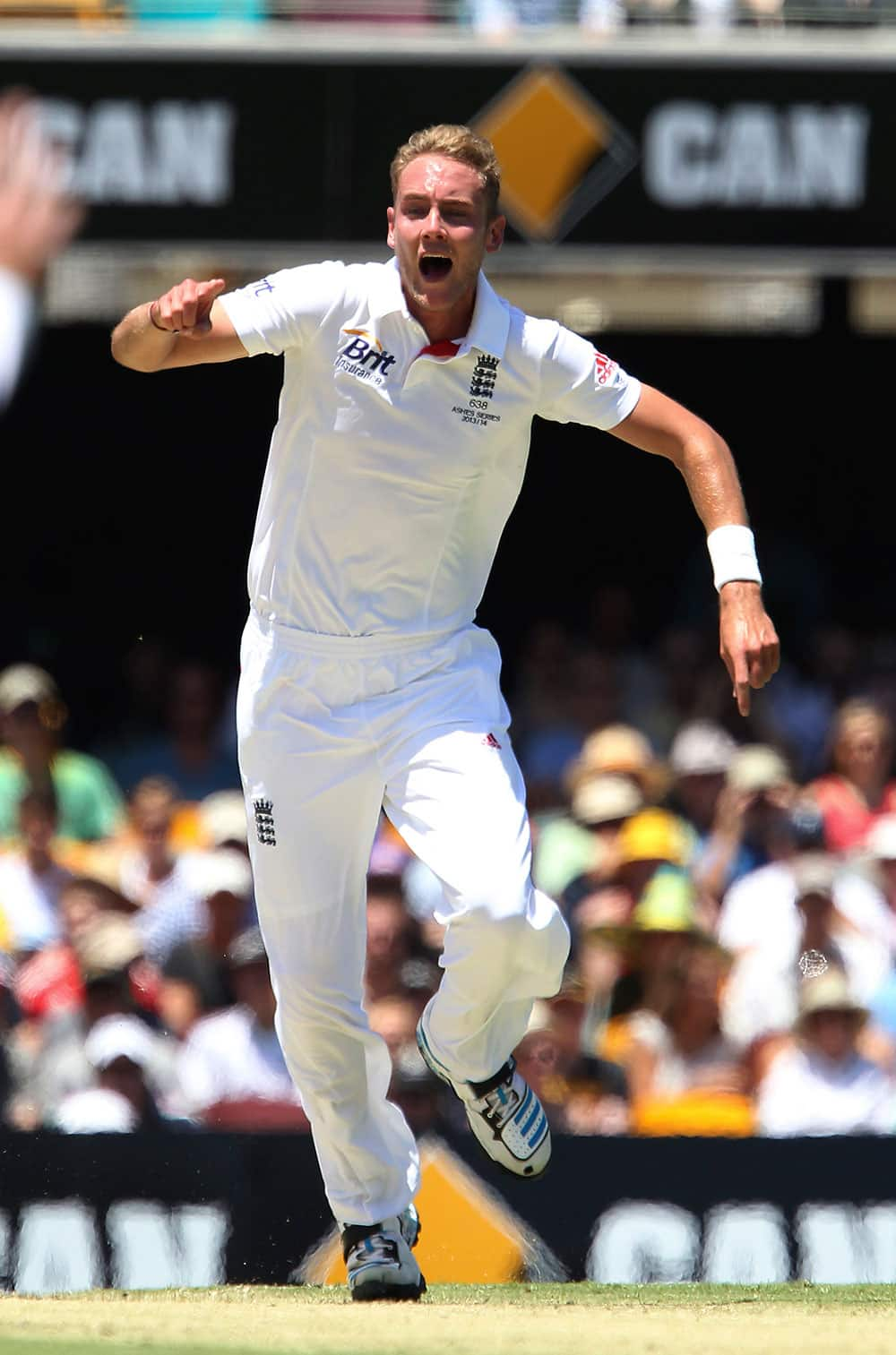 England`s Stuart Broad appeals for the wicket of Australia`s David Warner on the first day of the series-opening Ashes test between England and Australia at the Gabba in Brisbane.