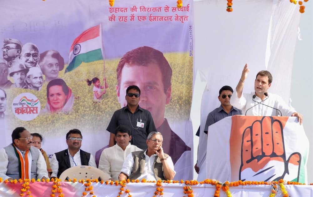 Rahul Gandhi addresses an election rally in Kukshi constituency in Madhya Pradesh.