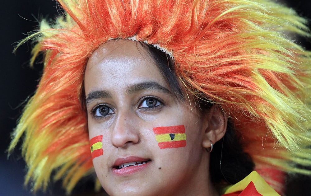 A Spanish soccer supporter watches during their international friendly soccer match against South Africa at Soccer City Stadium in Johannesburg, South Africa.